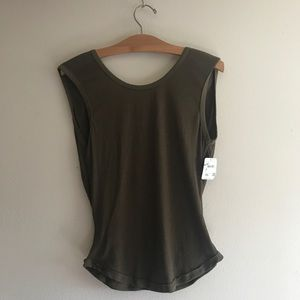 Intimately Free People Green Open Back Tank
